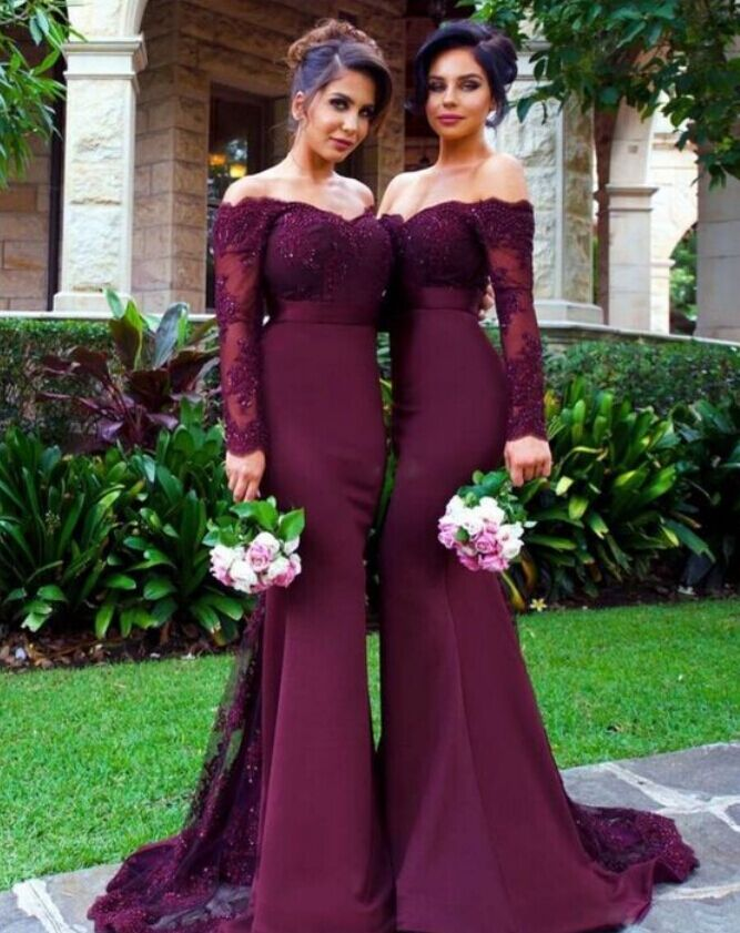 mermaid long sleeve bridesmaid dress