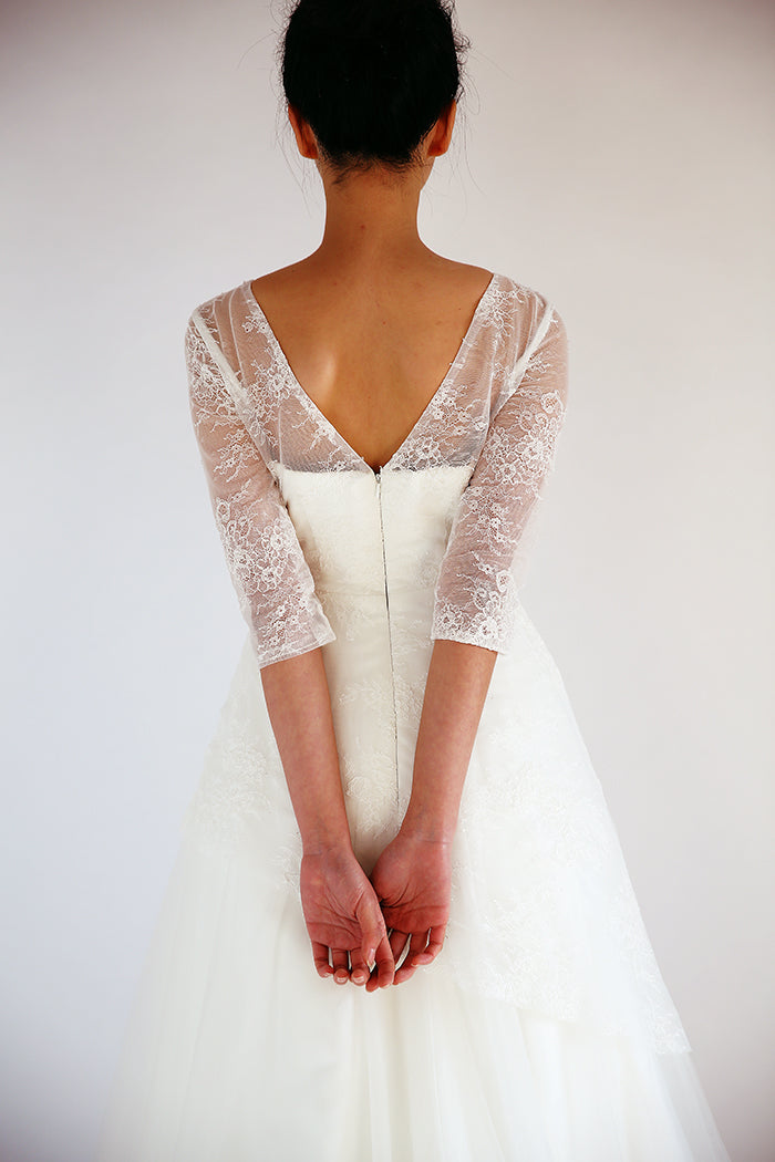 v-back lace wedding dress