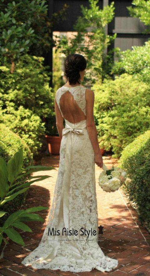 Keyhole Back Champagne Lace Wedding Dress