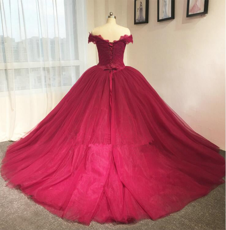ball gown burgundy wedding dress