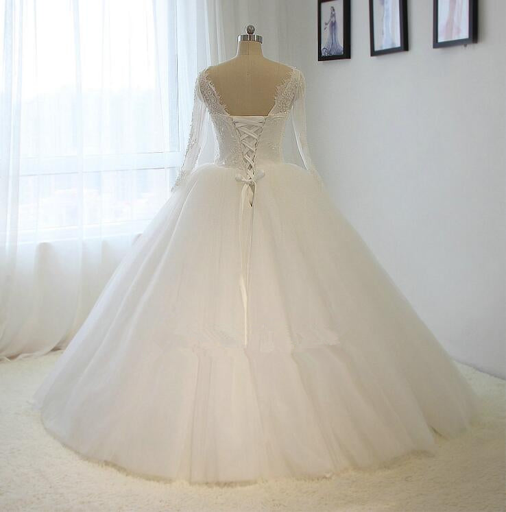Ball Gown Long Sleeve Lace and Tulle Wedding Dress