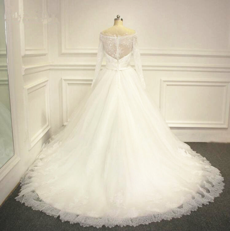 ball gown long sleeve lace wedding dress