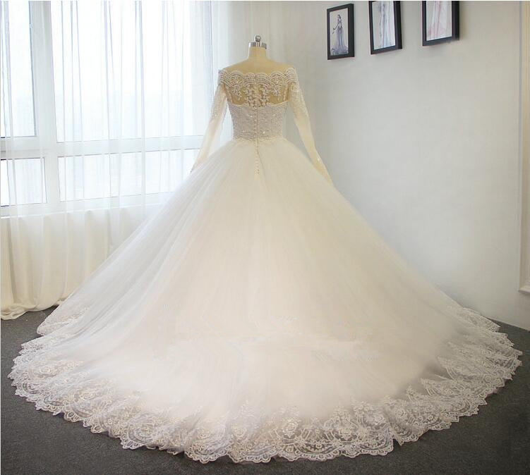 Ball Gown Off Shoulder Long Sleeves Lace Wedding Dress