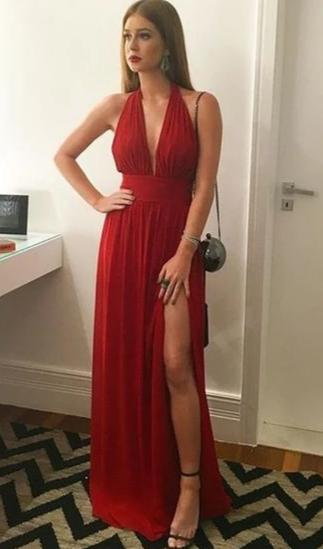 sexy slit evening dress