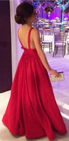Elegant A-line V-neckline Red Satin Evening Dress