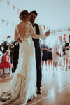 long sleeve v-back wedding dress
