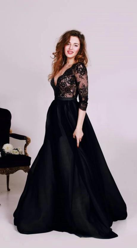 long sleeve plus size evening dress