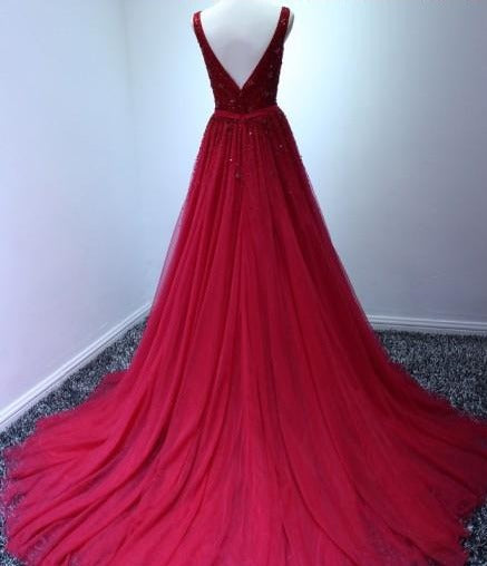 v-back red prom dress