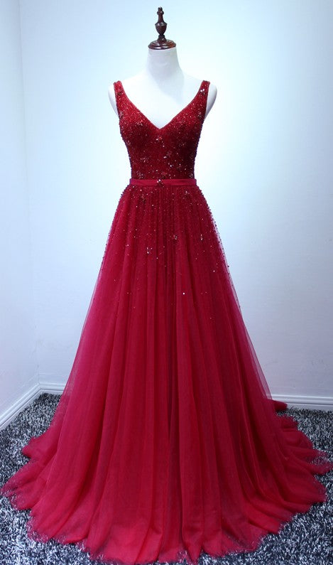 deep red sparkle prom dress