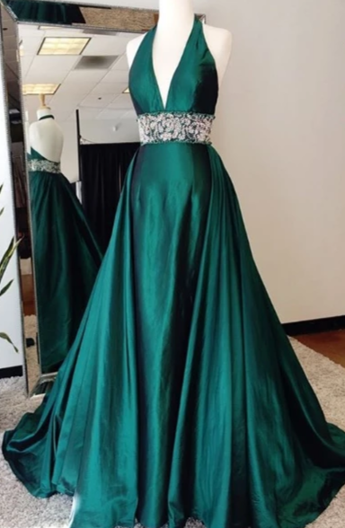 Halter Neckline Sexy Open Back Dark Green Evening Dress