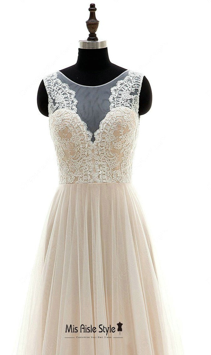 Champagne Illusion Lace Cheap Wedding Dress