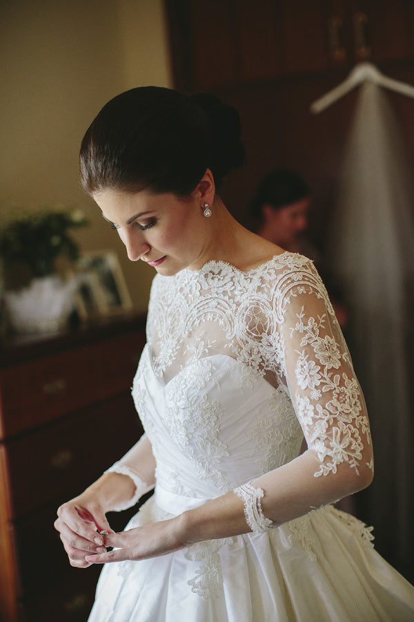 High Neckline long sleeve Lace Wedding Dress
