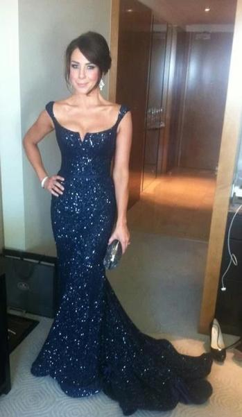 Mermaid Navy Blue Sparkle Evening Dress