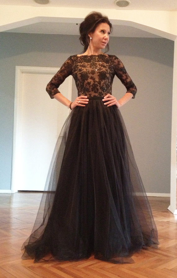 long sleeve evening dress