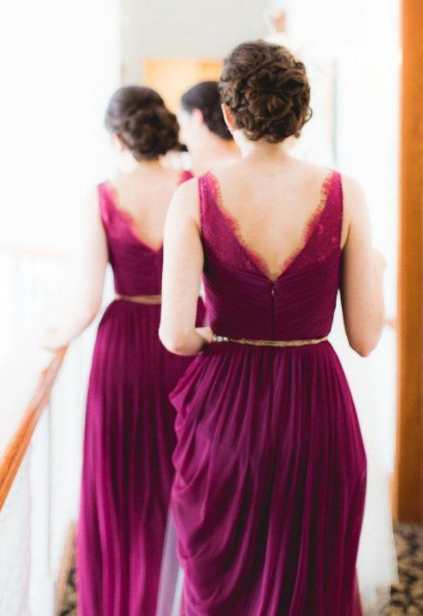 v-back bridesmaid dress