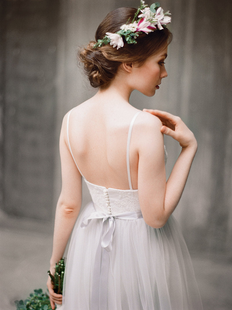 A-line Spaghetti Straps Silver Wedding Dress