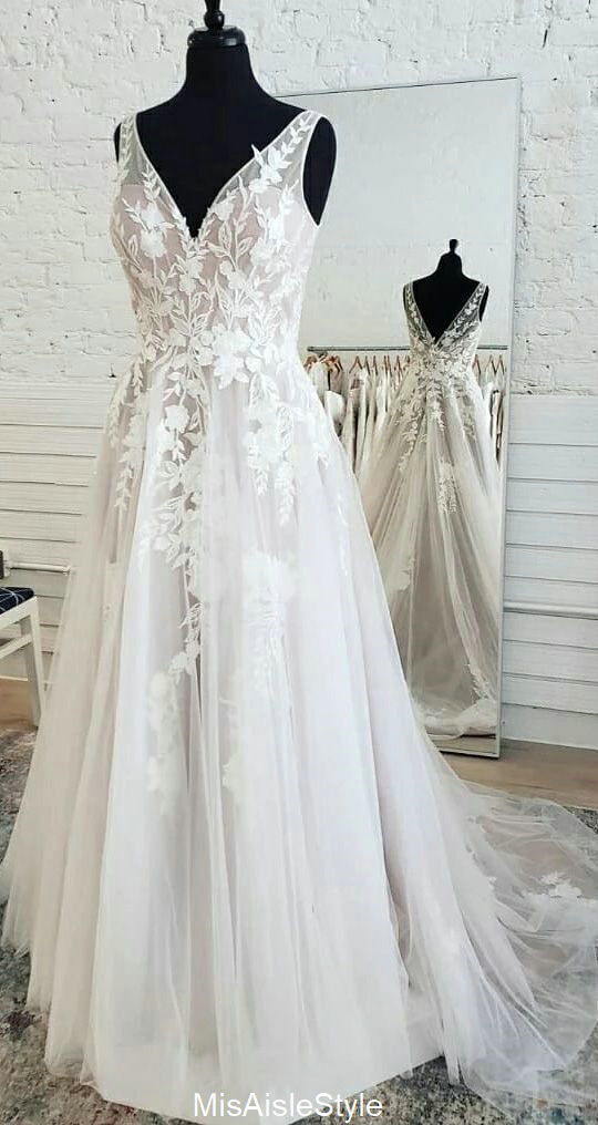 A line V-neckline French Lace Boho Wedding Dress