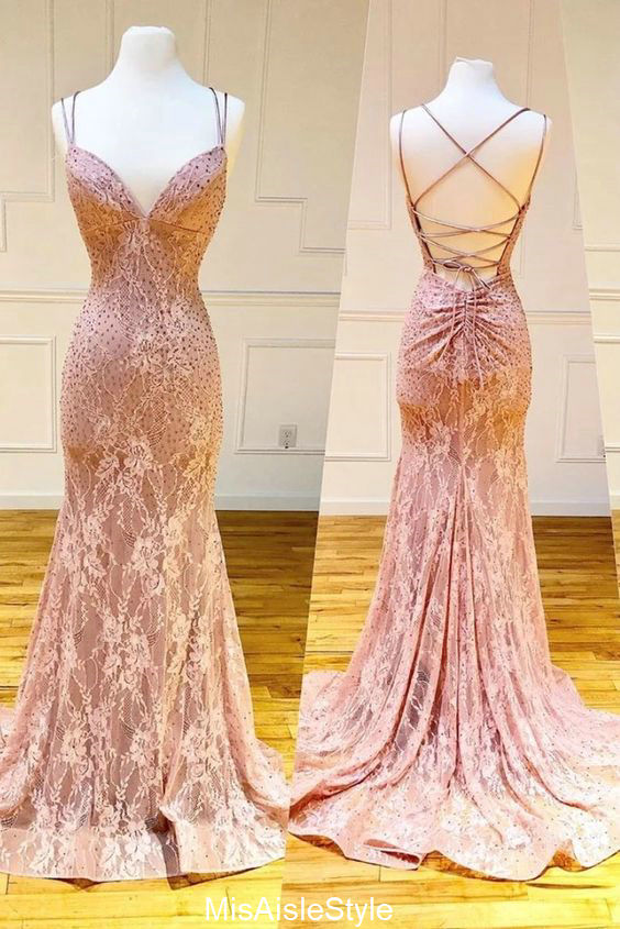 mermaid lace prom dress