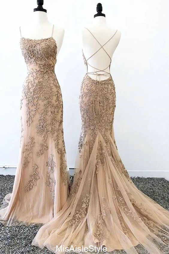 fitted champagne prom dress