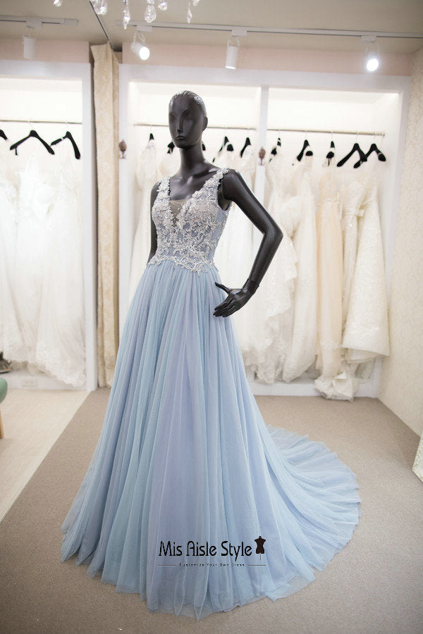 light blue prom dress
