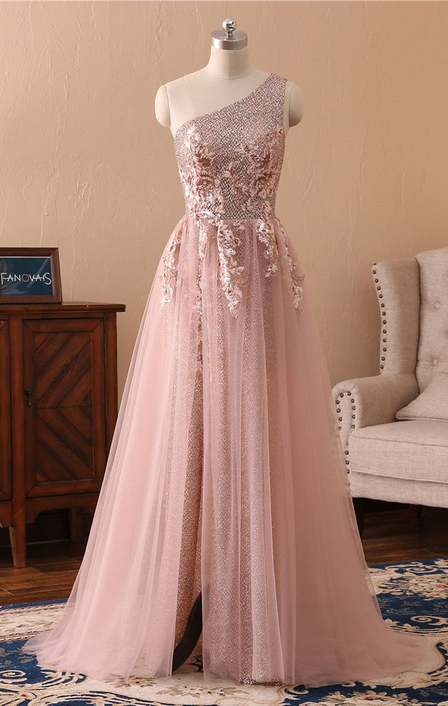 Slit One Shoulder Pink Sparkle Evening Dress