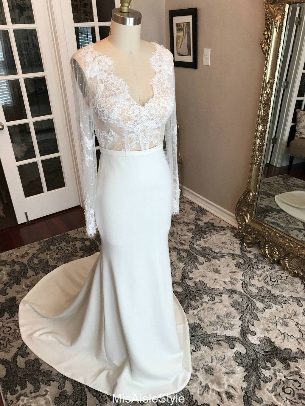 mermaid low back wedding dress