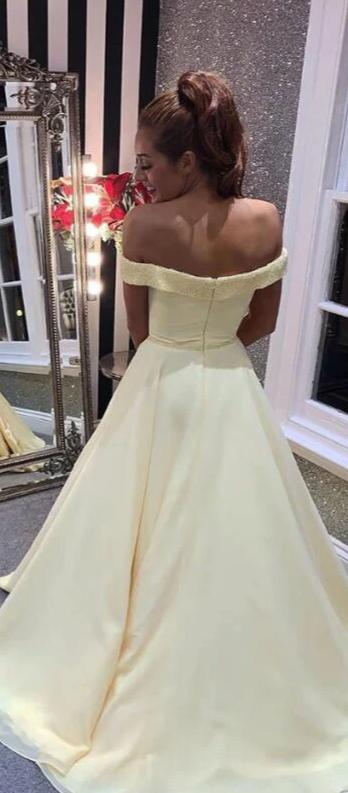 off shoulder sleeve prom dress