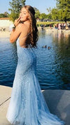 Fitted Lace Up Back Light Blue Prom Dress