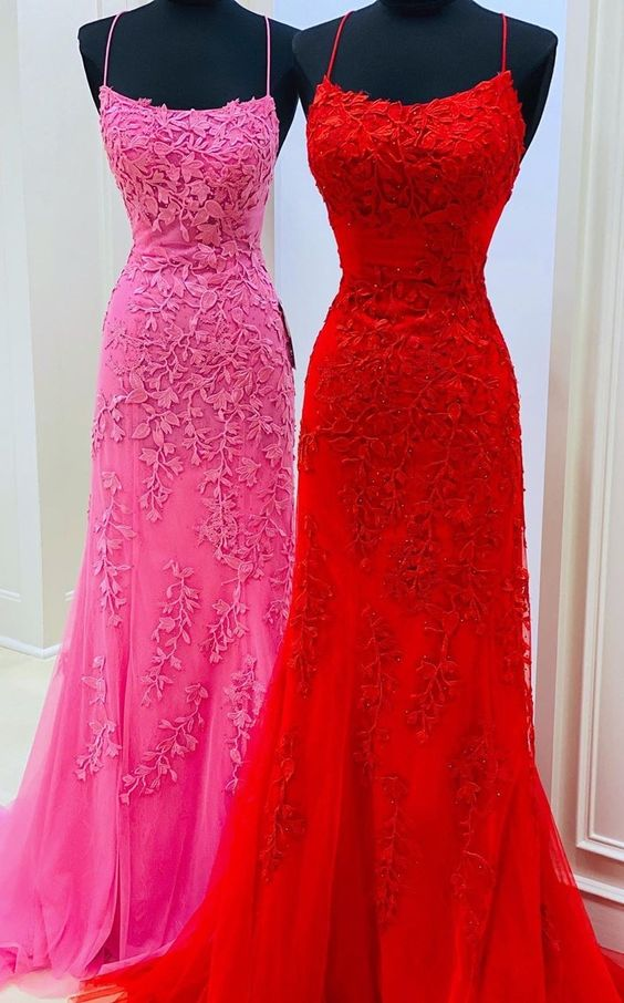 Petite Criss-Cross Red Prom Dress
