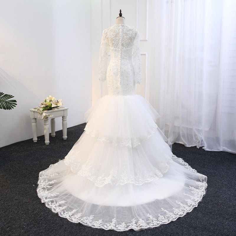 mermaid long sleeve lace wedding dress