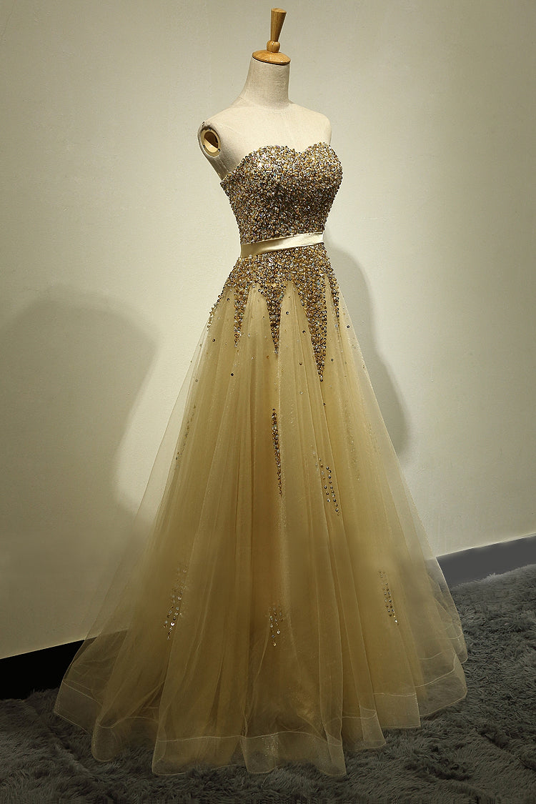 A line Gold Sparkle Prom Dress