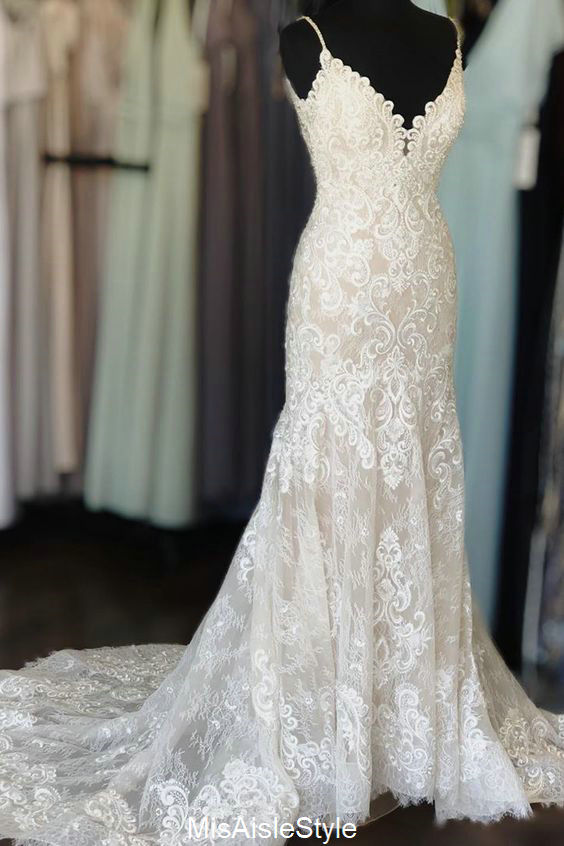 Spaghetti Straps High Quality French Lace Bohemian Wedding Dress