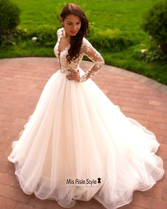 Ball Gown Long Sleeve High Quality French Lace Wedding Dress