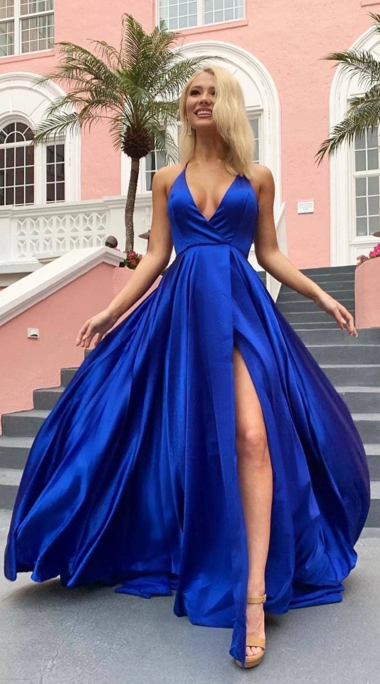 slit royal blue prom dress