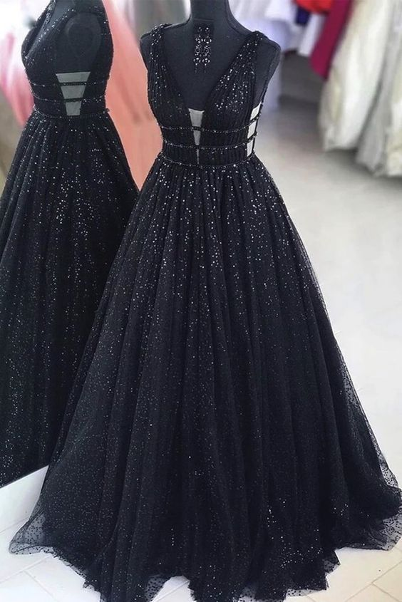 sparkle black prom dress