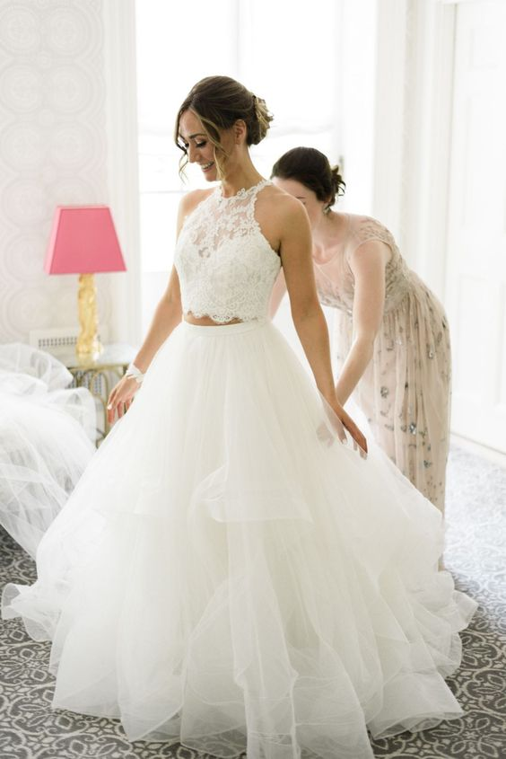 Ball Gown Two Piece Tiered Skirt Wedding Dress