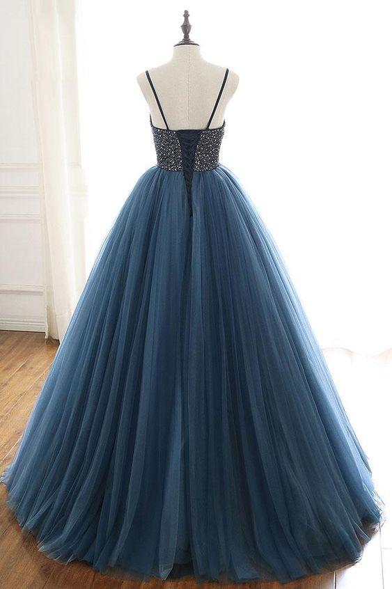 Ball Gown Navy Blue Prom Dress