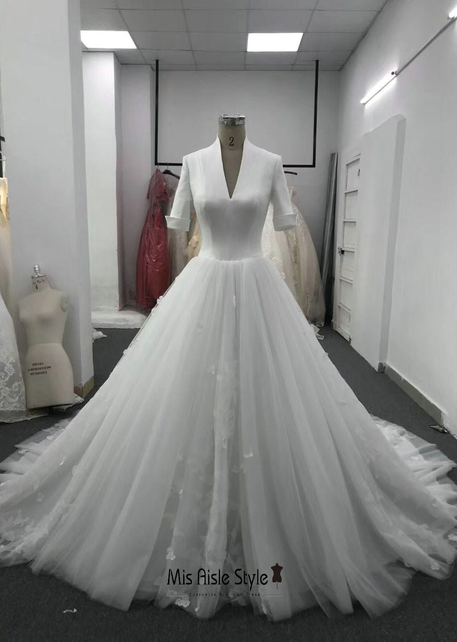 Custom Designer's Half Sleeve Wedding Dress