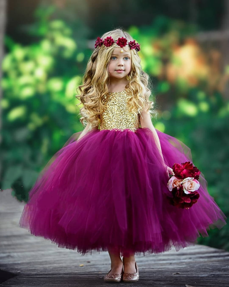 burgundy flower girl dress