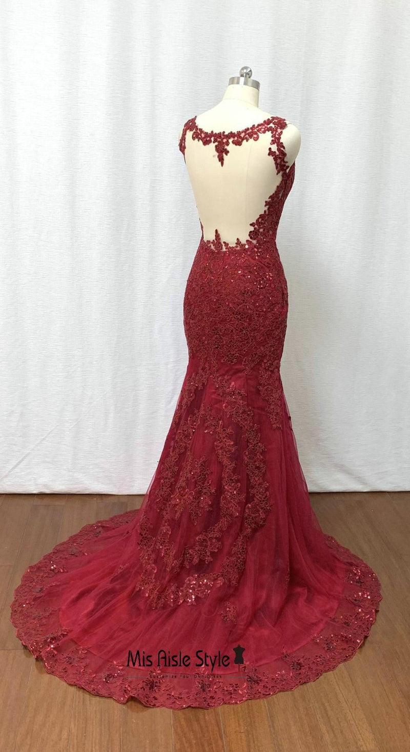 mermaid burgundy evening dress