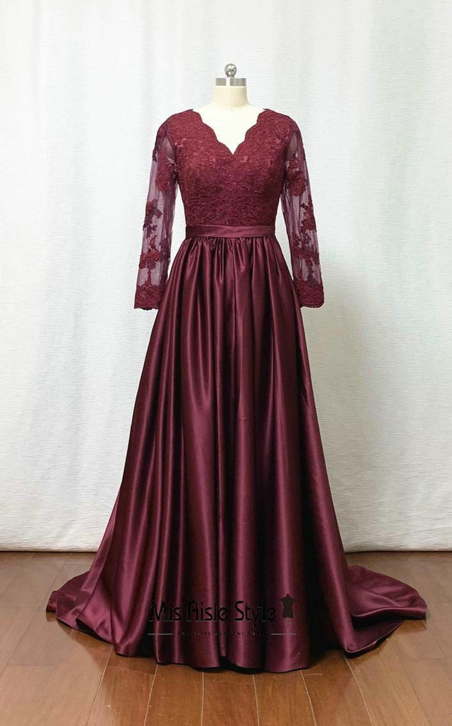long sleeves evening dress