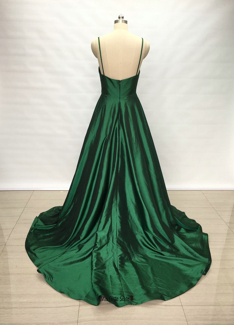 long green prom dress