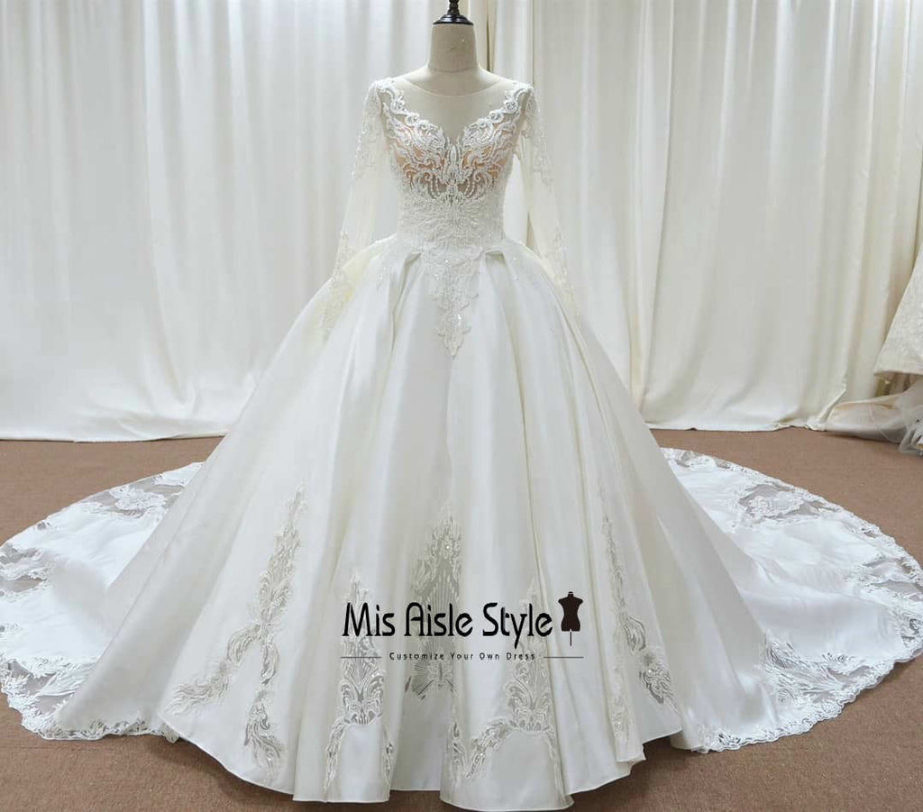 ball gown long sleeve wedding dress