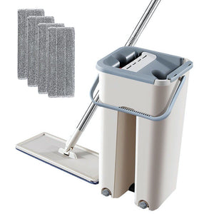 Microfiber Wood Floor Cleaning Mop with Touchless Cleaning Bucket