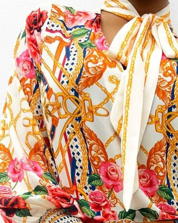 Scarf Neck Baroque Print Top