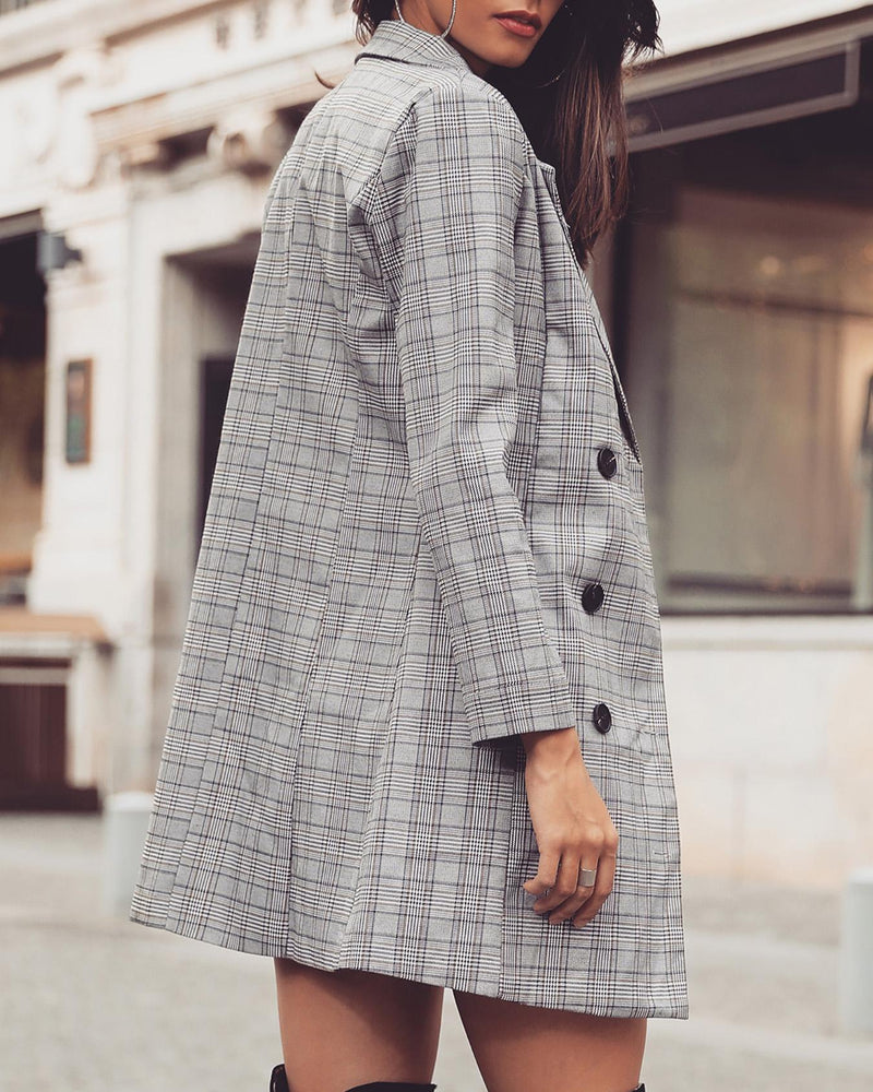 Grid Print Double-Breasted Long Sleeve Coat
