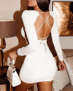 Crisscross Backless Ruched Design Bodycon Dress