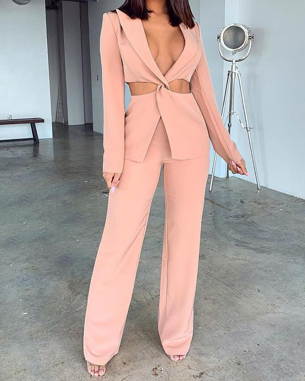 Solid Twist Front Top & Pants Suit