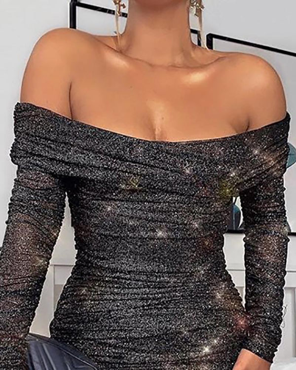 Off Shoulder Ruched Glitter Bodycon Dress