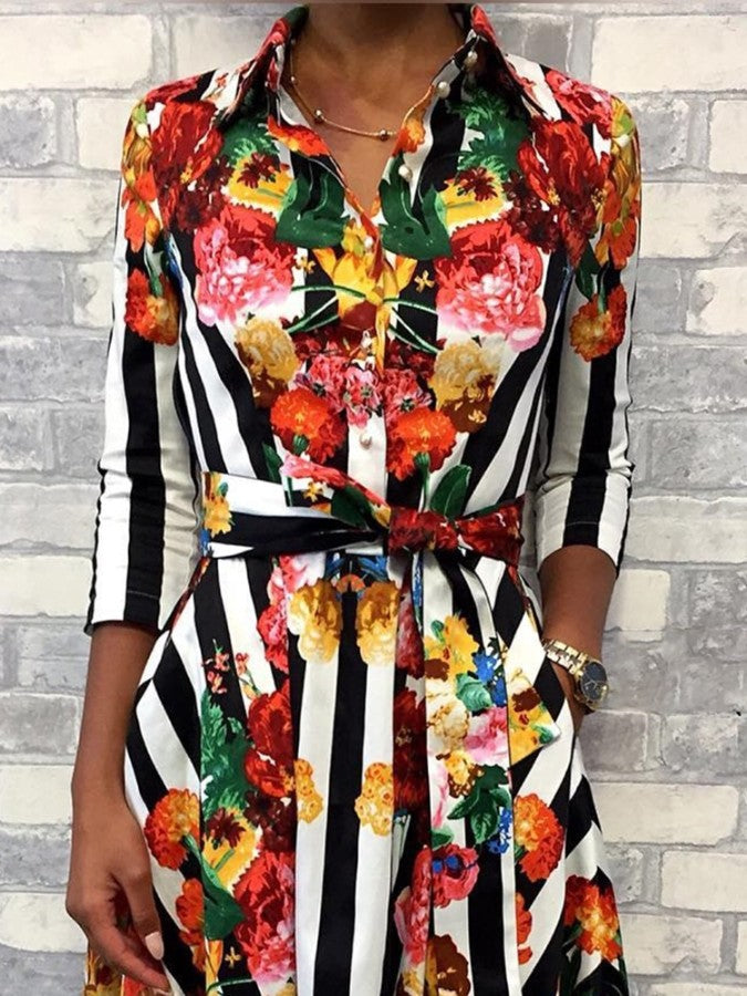 Floral & Striped Print Half Sleeve Shirt Dress